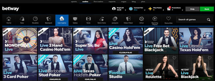 Betway Casino Live Dealer Games