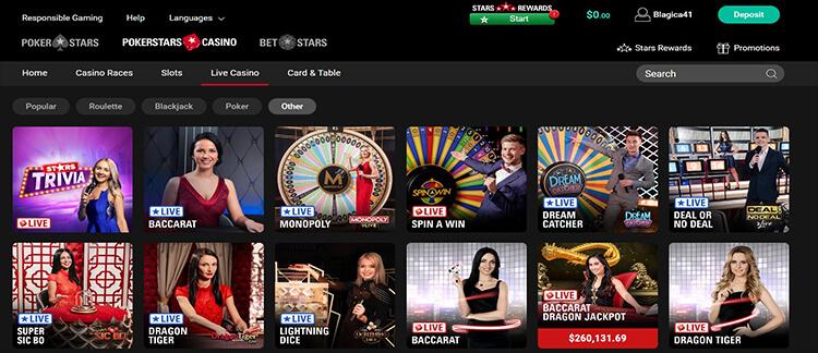 PokerStars Casino Live Dealer Games
