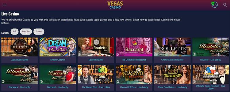 Vegas Casino Live Dealer Games