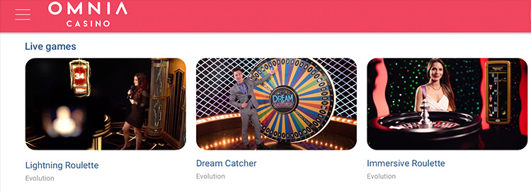 Omnia Casino Live Dealer Games