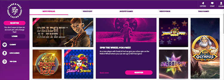 Frenk & Fred Casino Software and Game Selection