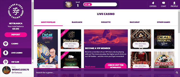 Frenk and Fred Casino Live Dealer Games