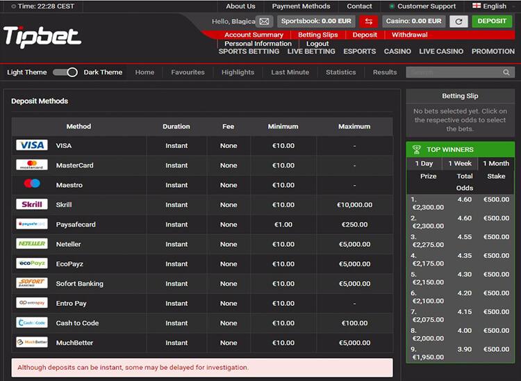 Tipbet Casino Payment Methods