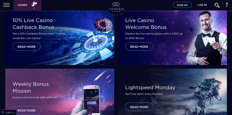 Genesis Casino promotional offers