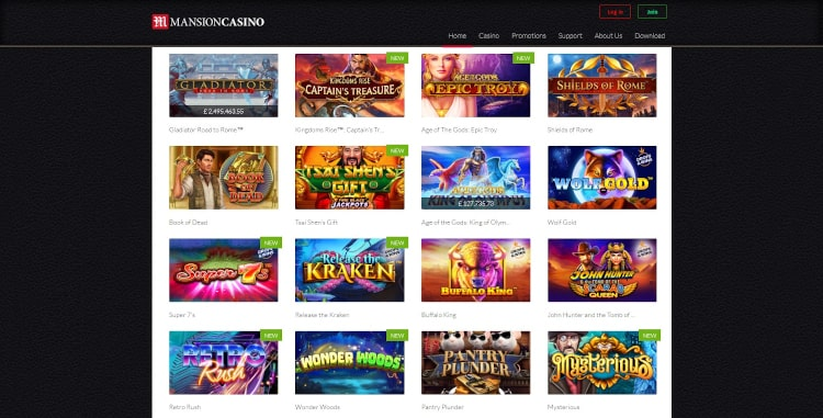Mansion Casino Game Selection
