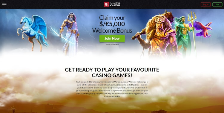 Mansion Casino Homepage