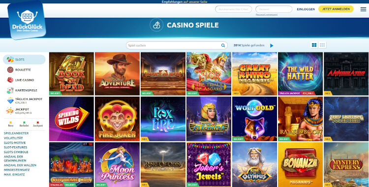 DrückGlück Casino Spiele