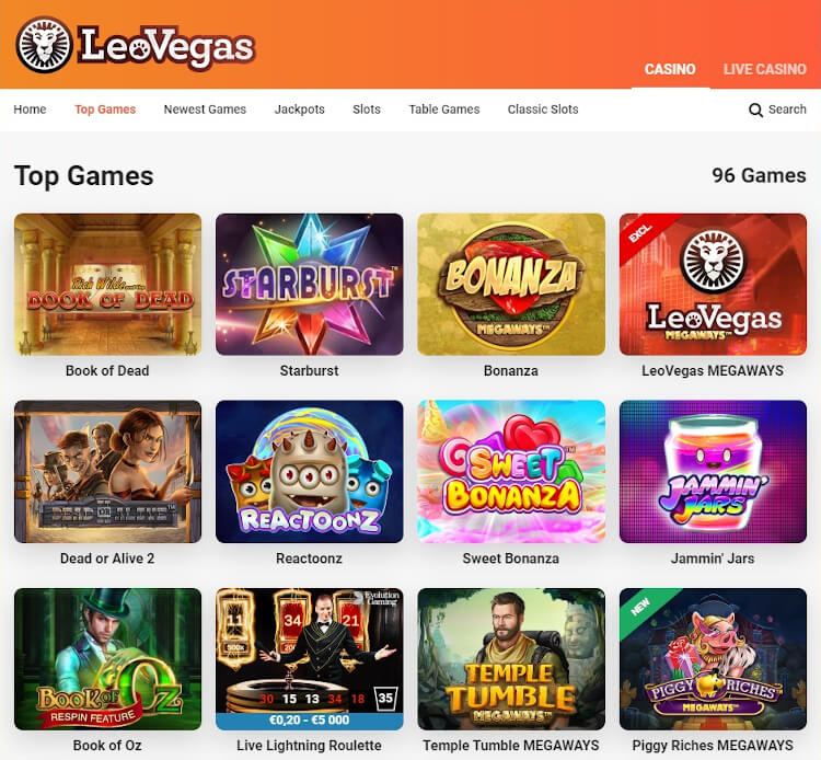 LeoVegas Software and Game Selection