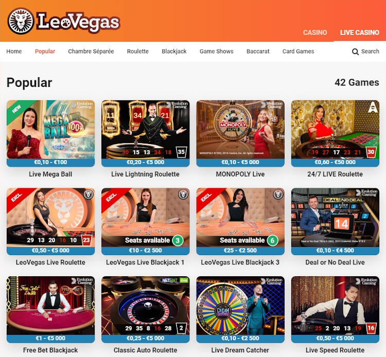 LeoVegas Live Dealer Games