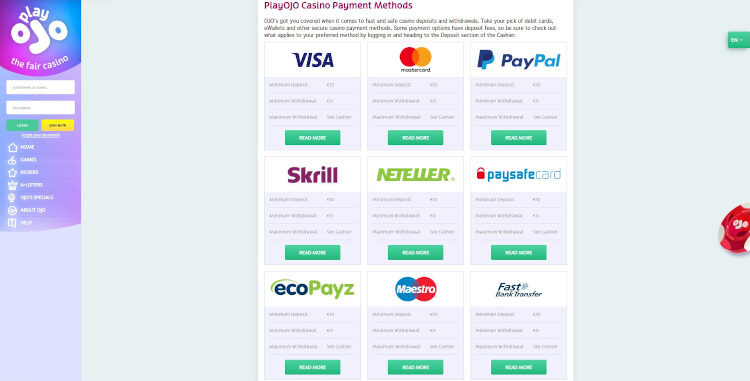 PlayOJO Payment Methods