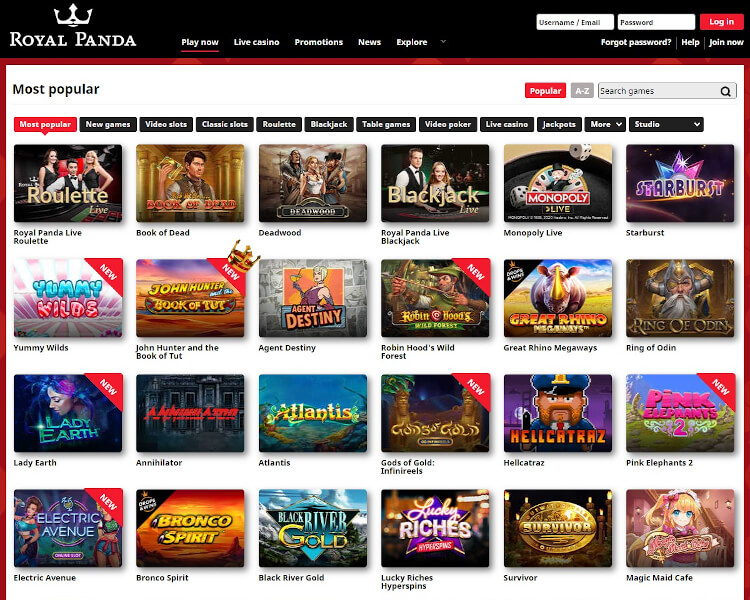 Royal Panda Software and Game Selection