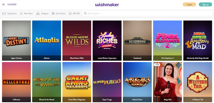 Wishmaker Casino Game Selection