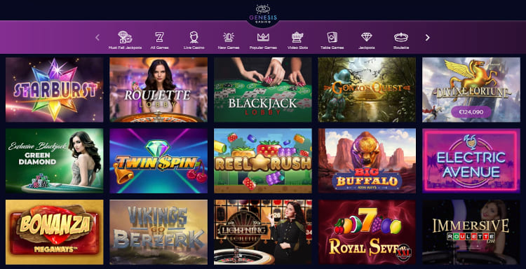 Genesis Casino Software and Game Selection