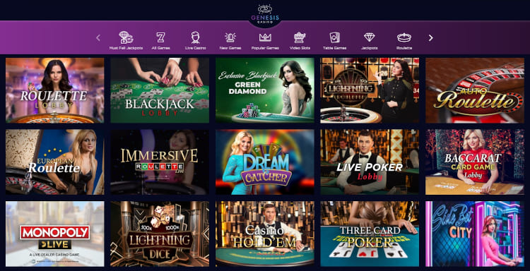 Genesis Casino Live Dealer Games
