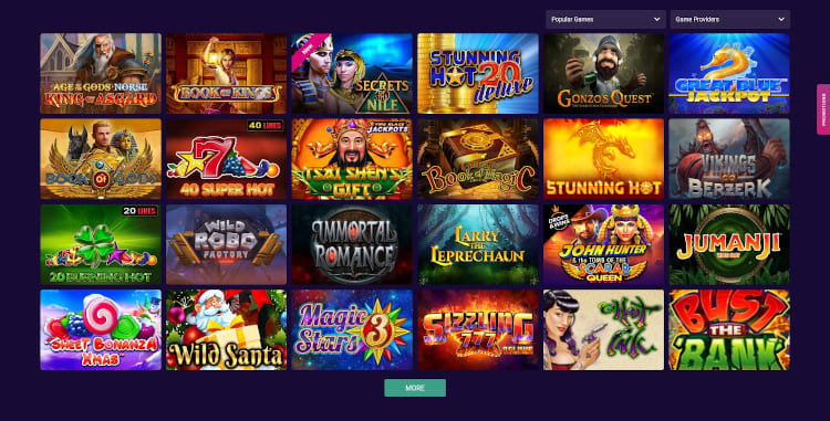 V Bet Software and Game Selection