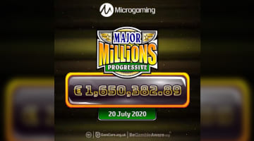 The moment Major Millions Slot shows the player wins €1,650,382.89 on July 20, 2020