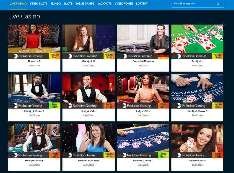 Fun Casino Live Casino Section Offers Evolution Games