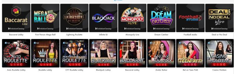 Slotty Vegas Live Casino Games