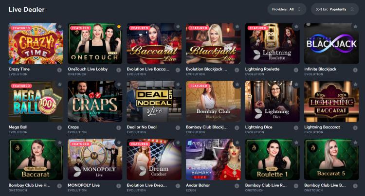 Sportsbet.io Live Casino Games