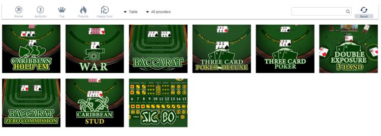 WirWetten Casino Table Games