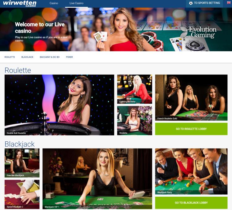 Wirwetten Live Casino
