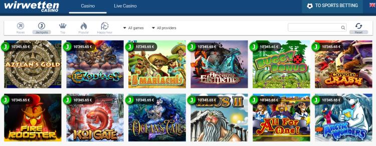 Wirwetten Online Casino Games